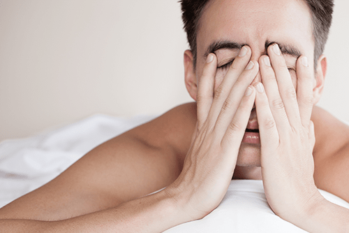 Man suffers from lack of sleep due to snoring