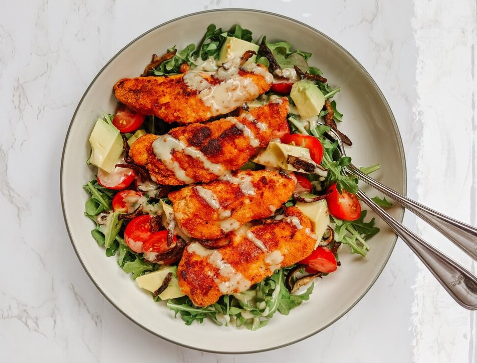 Gluten-free Crispy Chicken Tender Salad with Honey Mustard Dressing & Shiitake Bacon