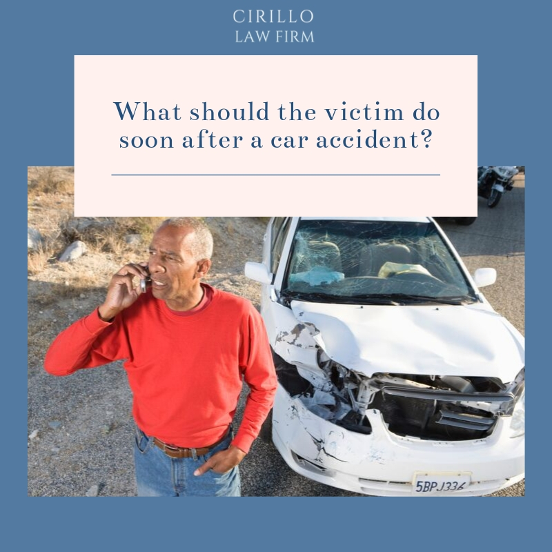 What should the car accident victims do soon after the accident