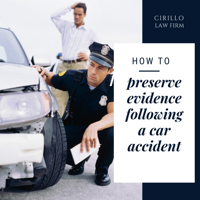 How to preserve evidence following a car accident