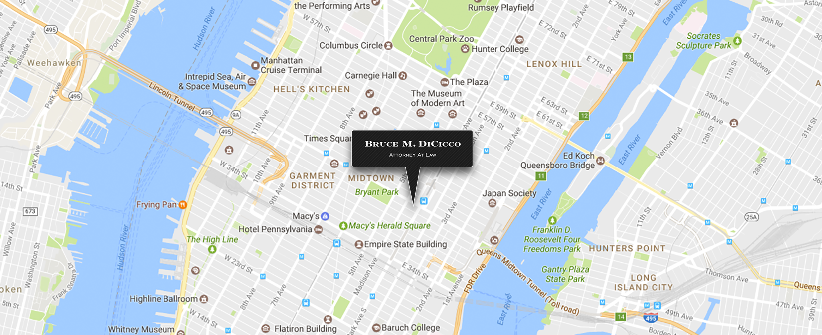 Map to DiCicco Law in New York City, NY