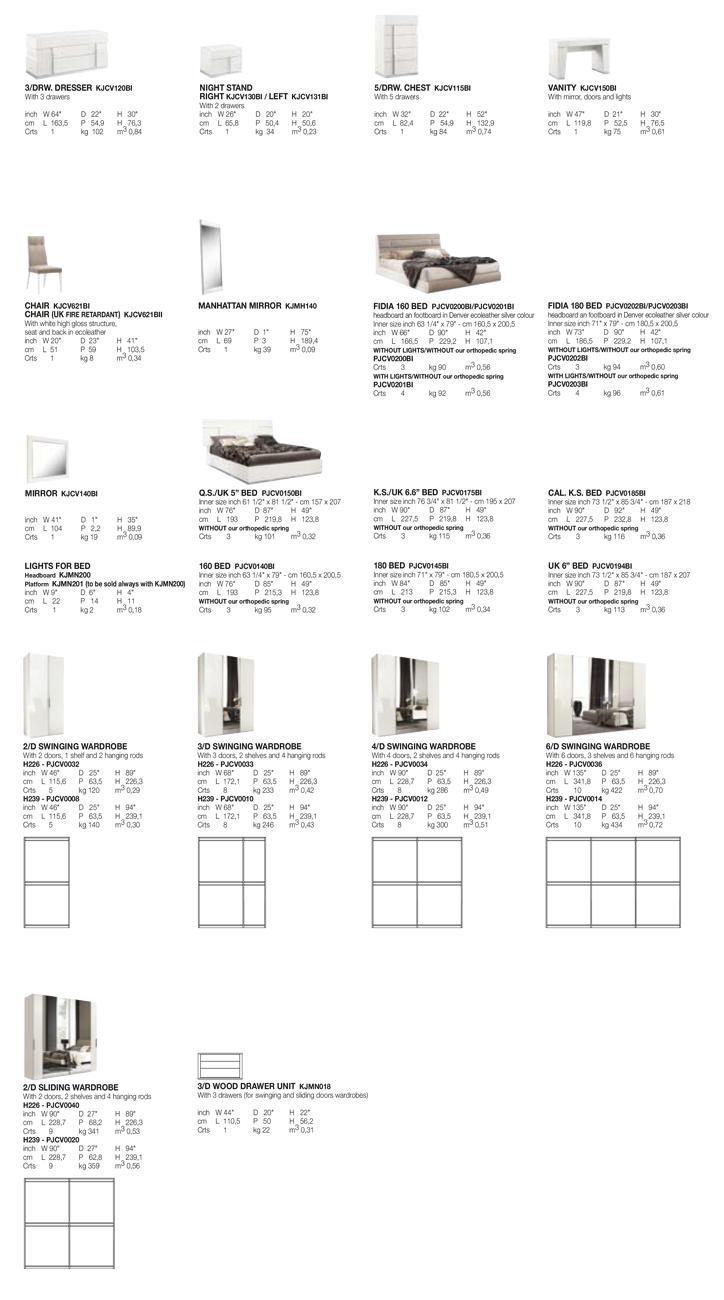 Canova Bedroom TECHNICAL DATA