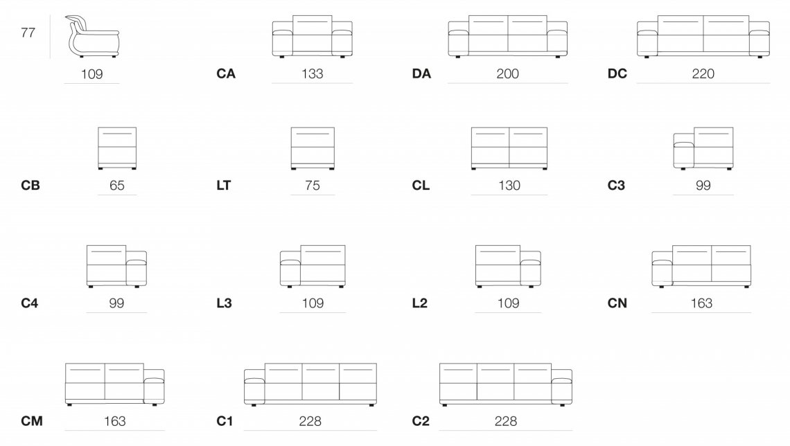 Indianapolis leather sofas deluxe (sizing and versions)