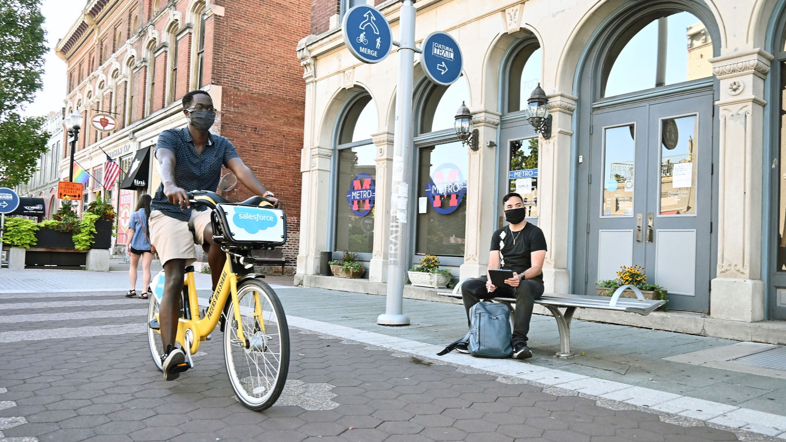 Indianapolis public space with biker