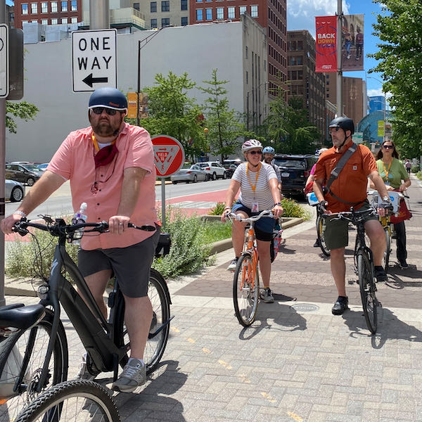 A tour of the Indianapolis Cultural Trail. Photo Courtesy of John Simmerman, Active Towns