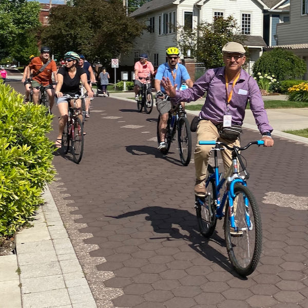 Participants take a ride down a shared space street in Indianapolis. Photo Courtesy of John Simmerman, Active Towns