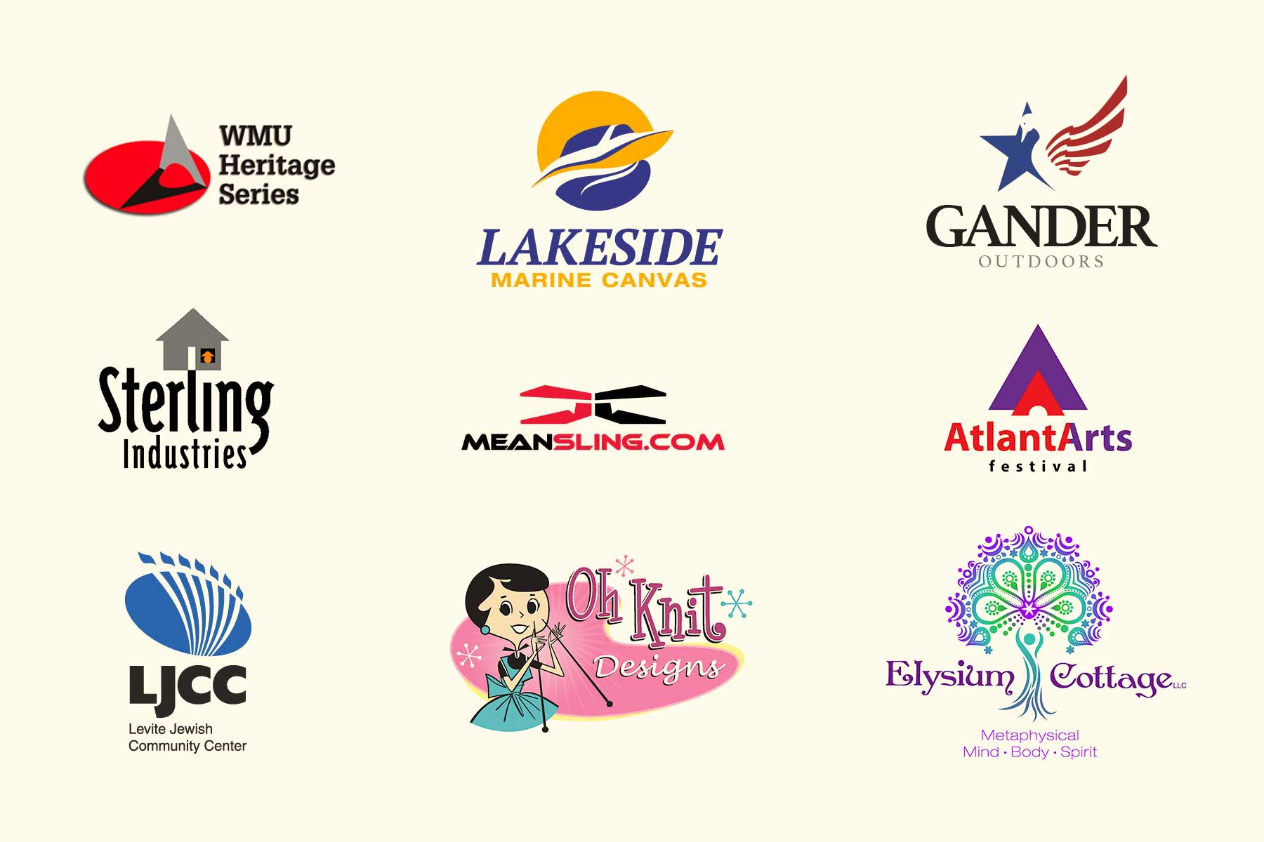 montage of assorted client logos