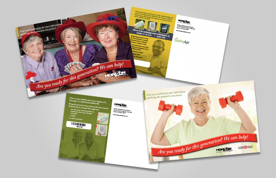 photo of direct mail postcards for senior living