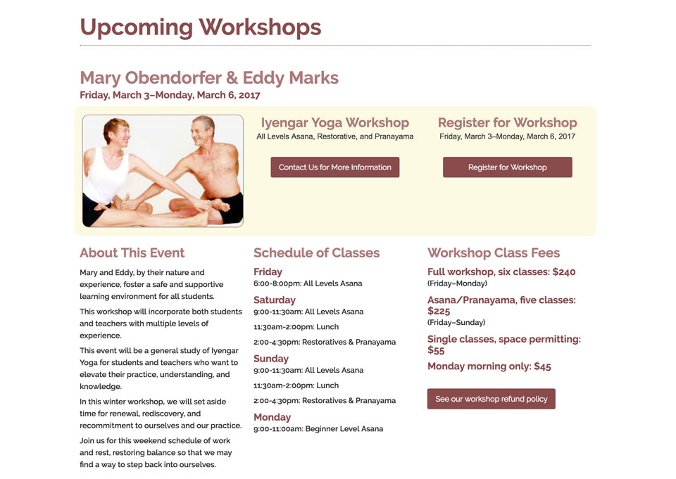 photo of website: yoga studio detail