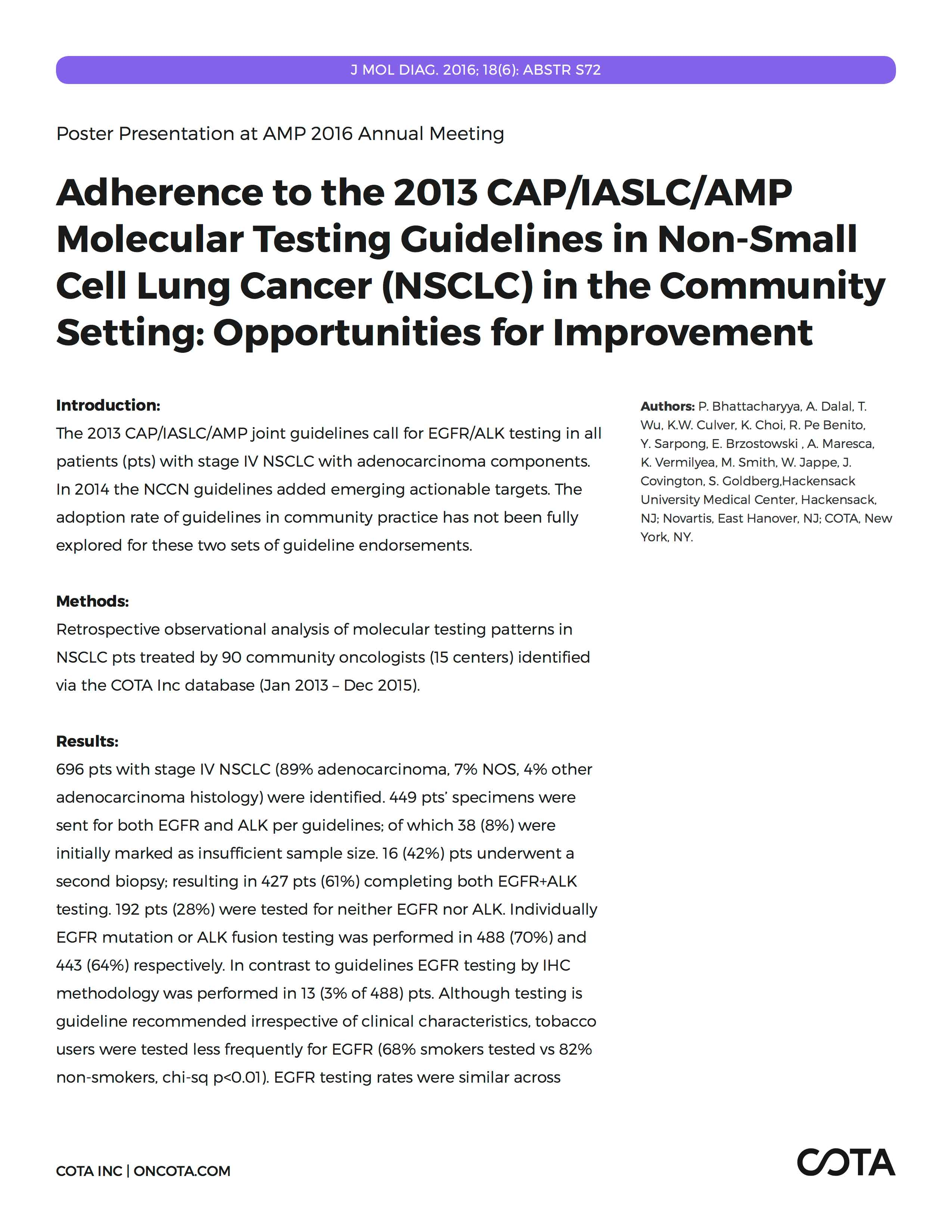 4e7fd950d17 Adherence to the 2013 CAP IASLC AMP Molecular Testing Guidelines in  Non-Small Cell Lung Cancer in the Community Setting  Opportunities for  Improvement