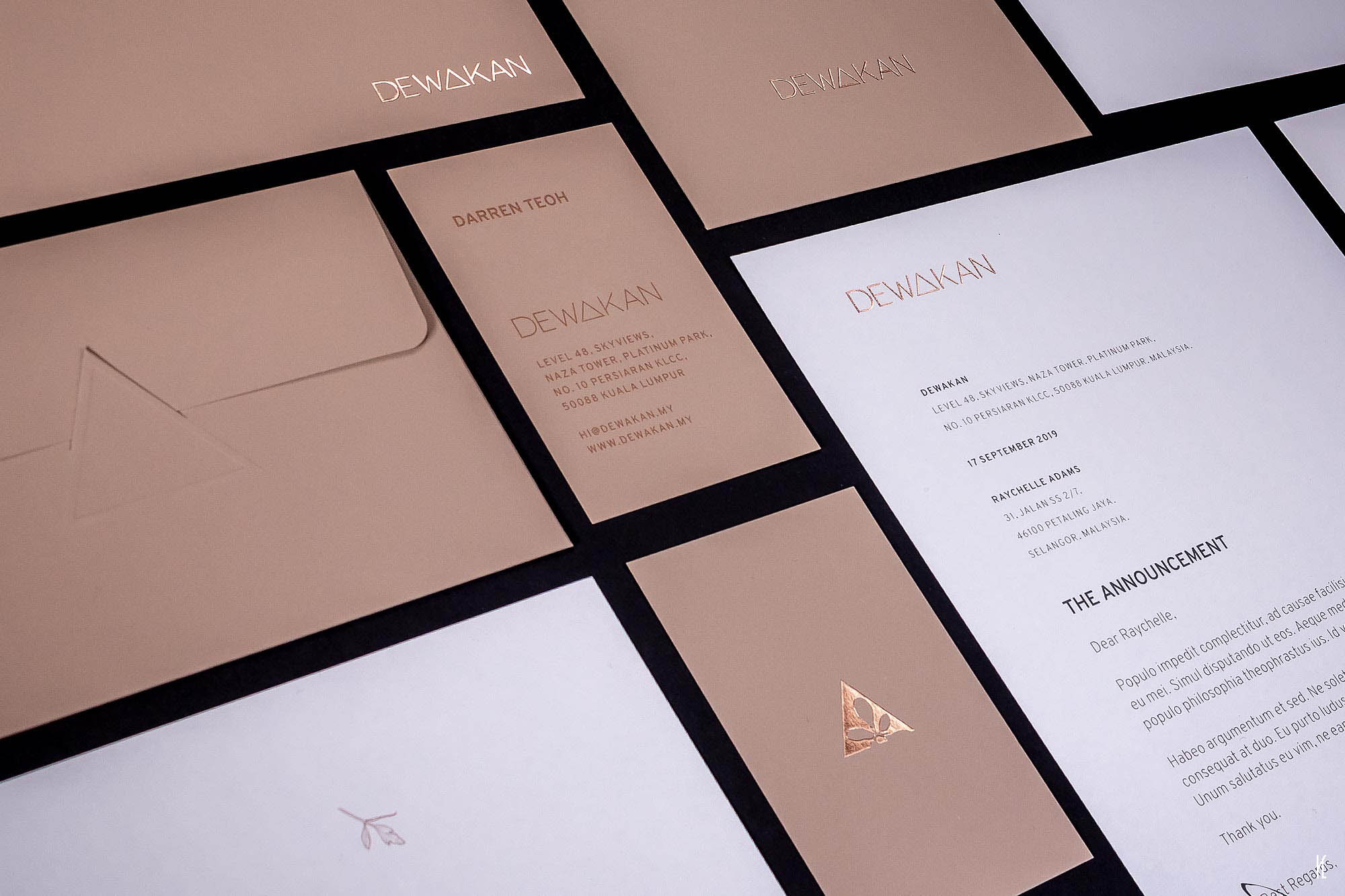 Collateral design for the newly relocated Dewakan restaurant in the heart of KL City