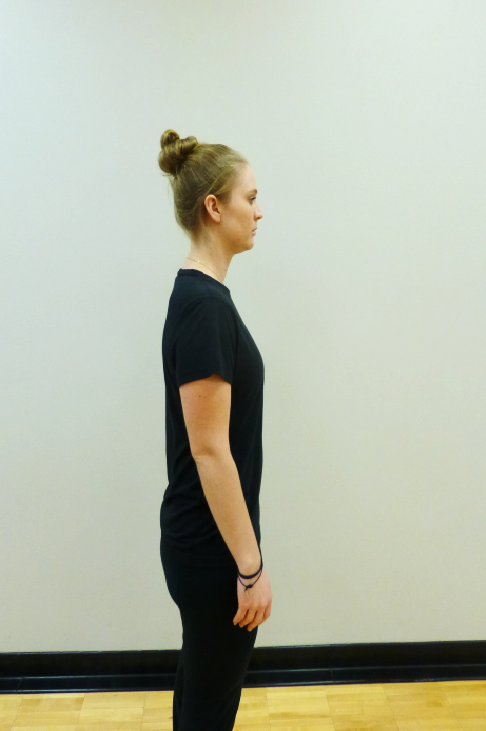 mountain with arm reach thoracic extension stretch