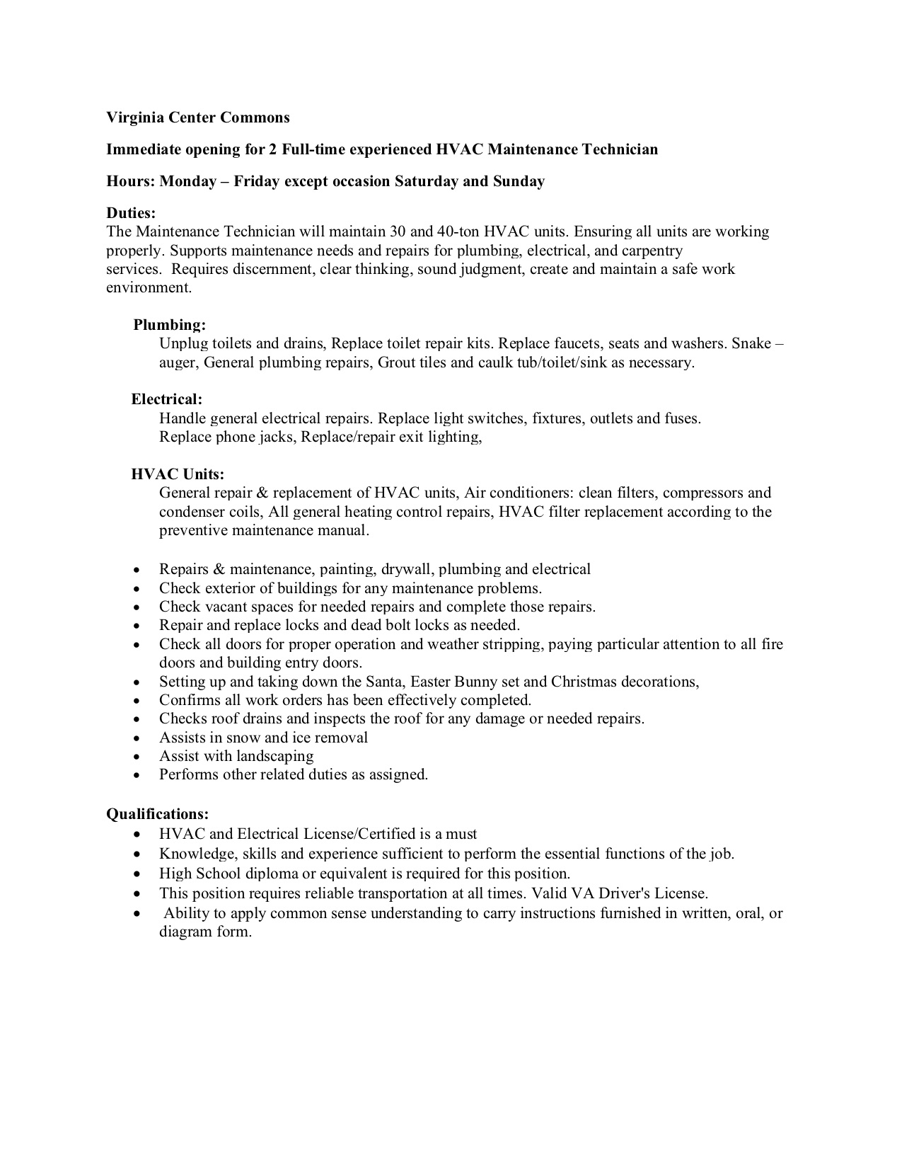 Maintenance tech job specifications