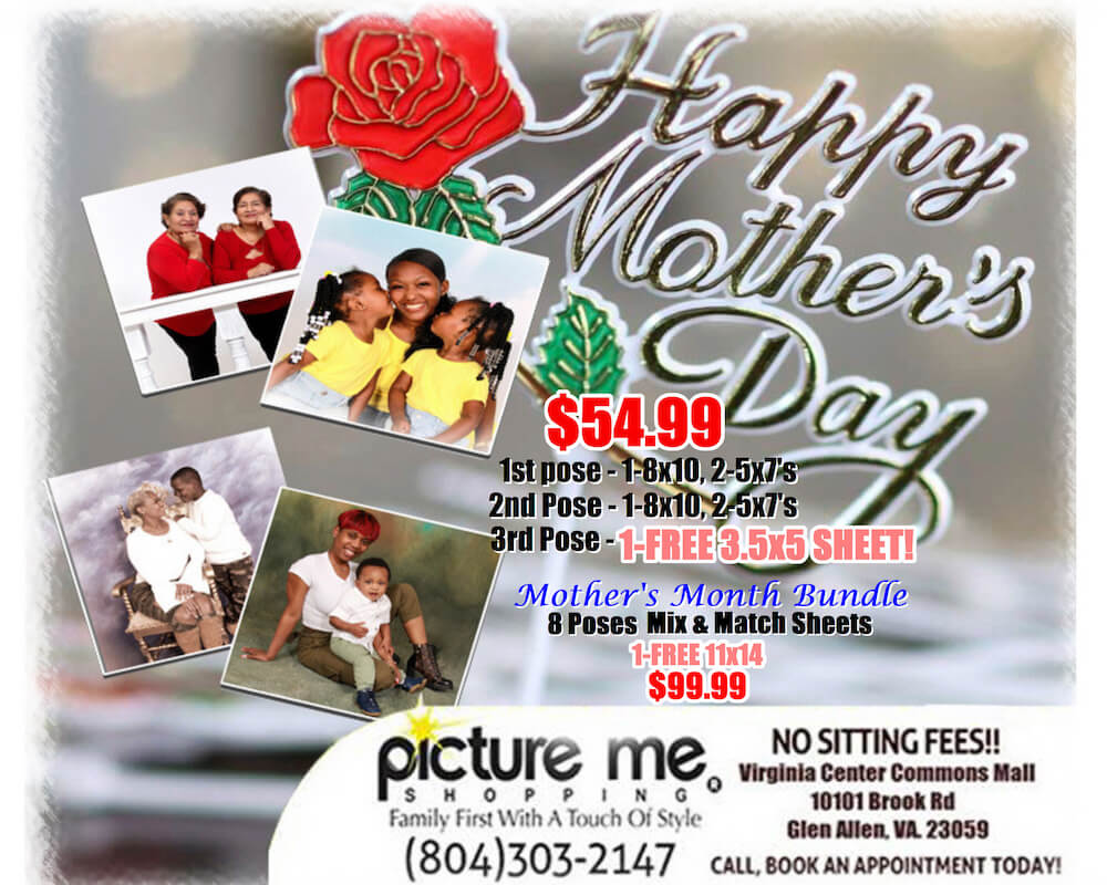 Happy Mother's Day text and rose decoration with Mother's day photo information