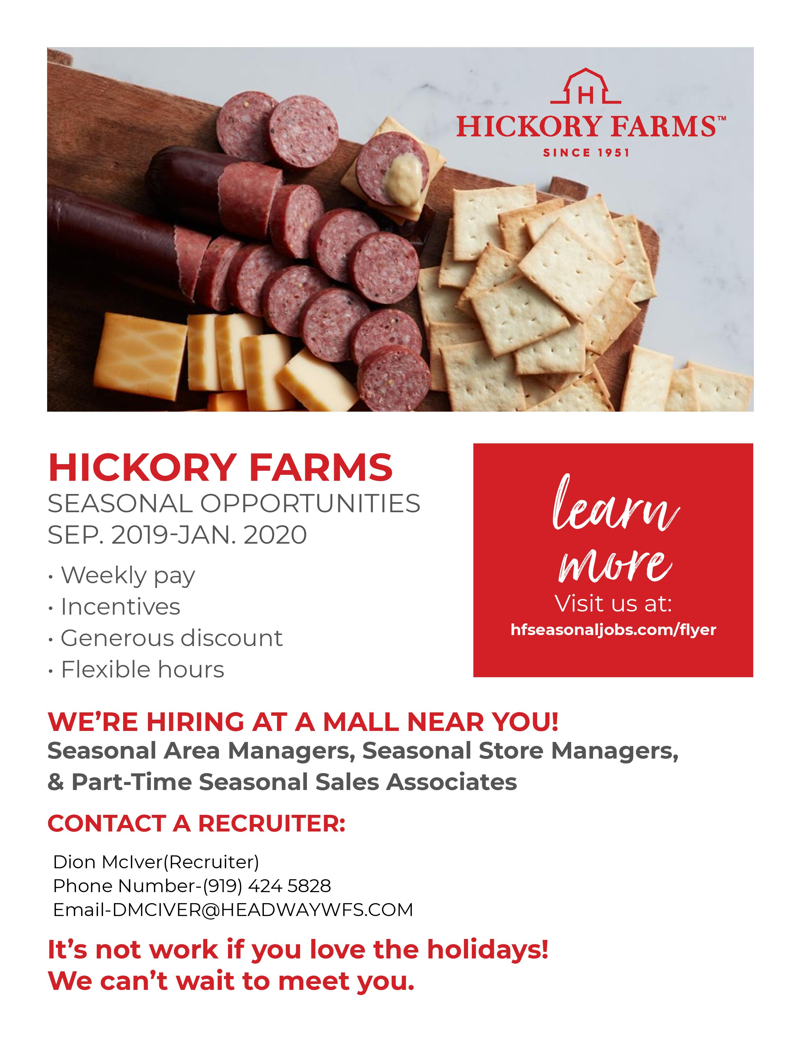 hickory farms seasonal opportunities information