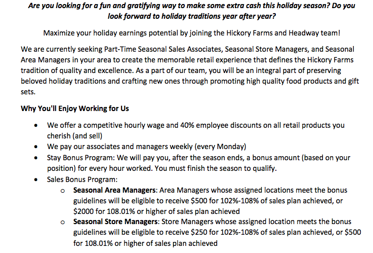 hickory farms seasonal opportunity information