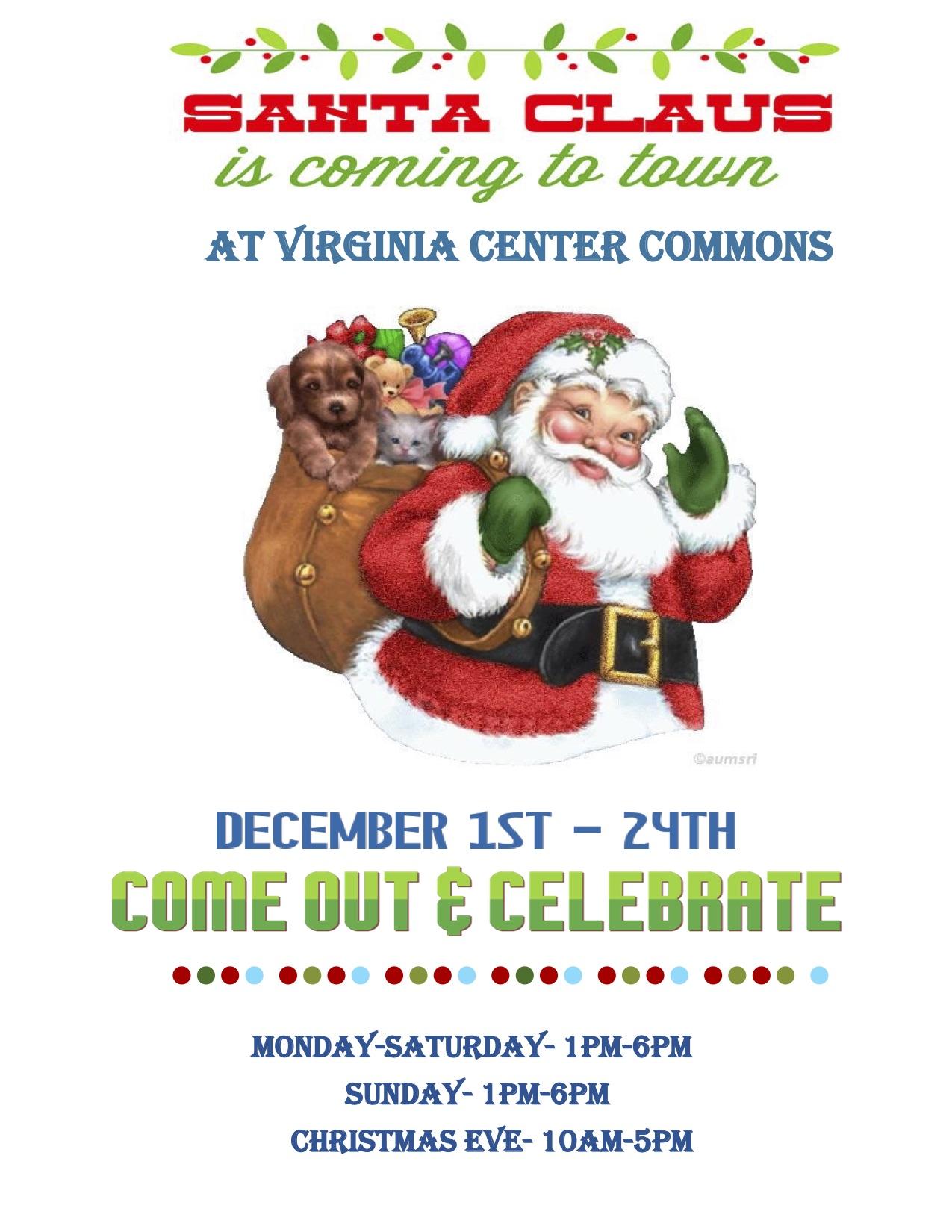 Santa hours for Virginia Center Commons