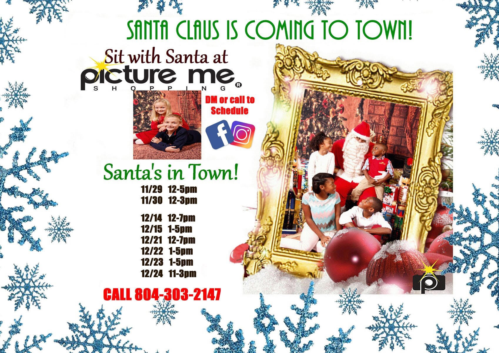 children taking photos with santa at Picture me studios