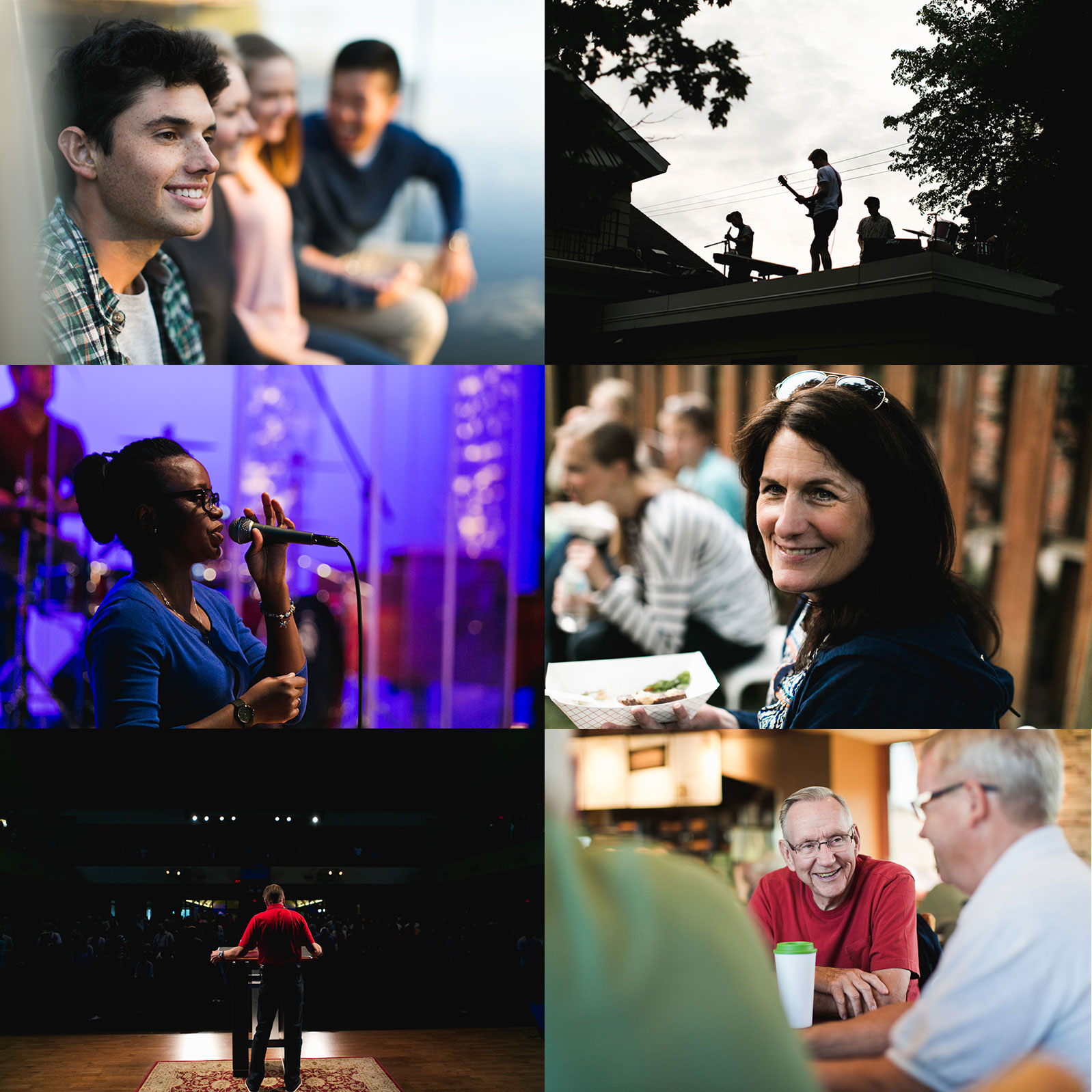 Photo grid of smiling young adults, a band playing on a roof, a pretty black lady singing into a microphone, a sweet older woman holding a hamburger at a ballgame, a pastor preaching on stage, a group of older gentlemen drinking coffee
