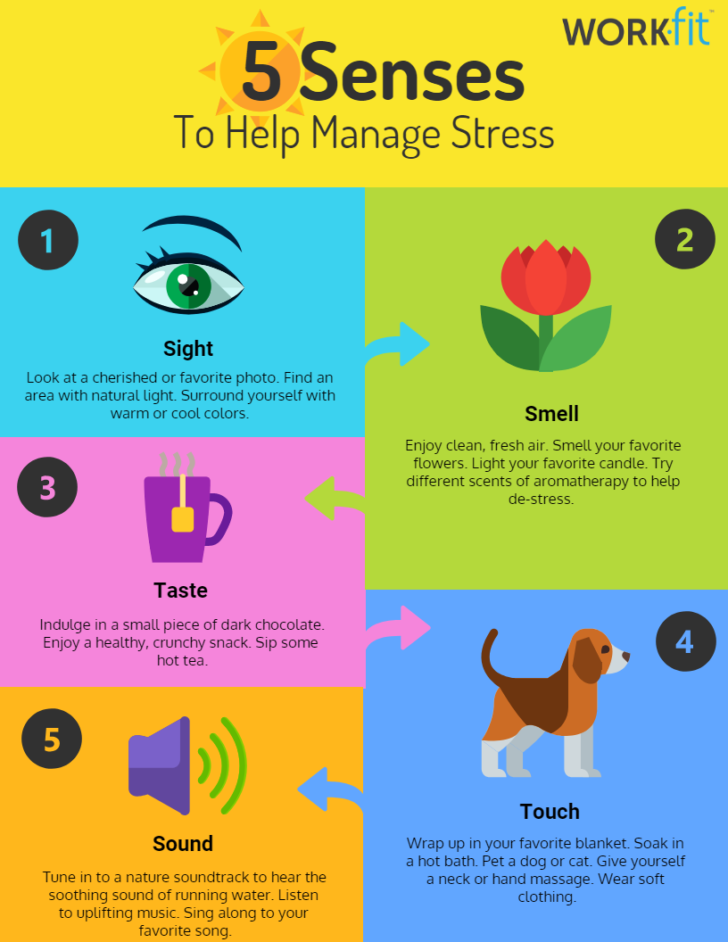 5 senses to help manage stress infographic