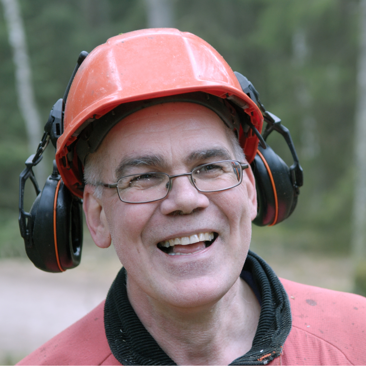 man with a hard hat and ear protection