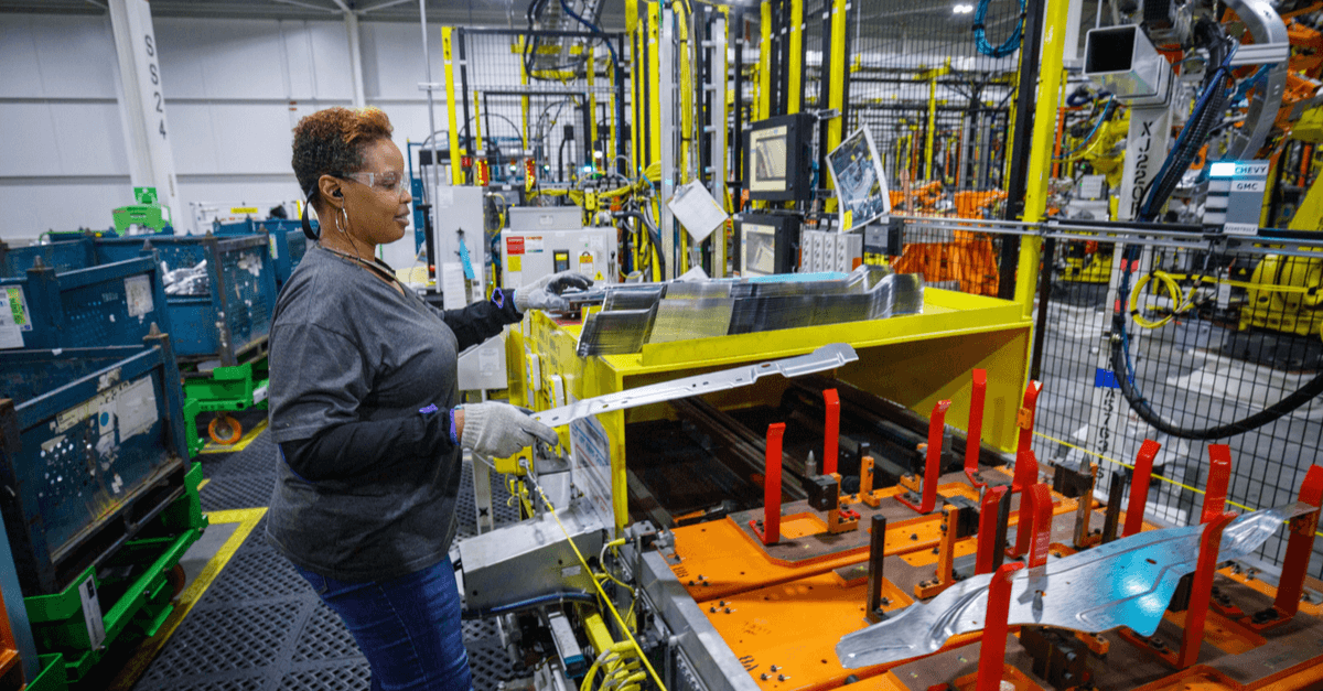 body shop at GM's Silverado and Sierra pickup truck plant