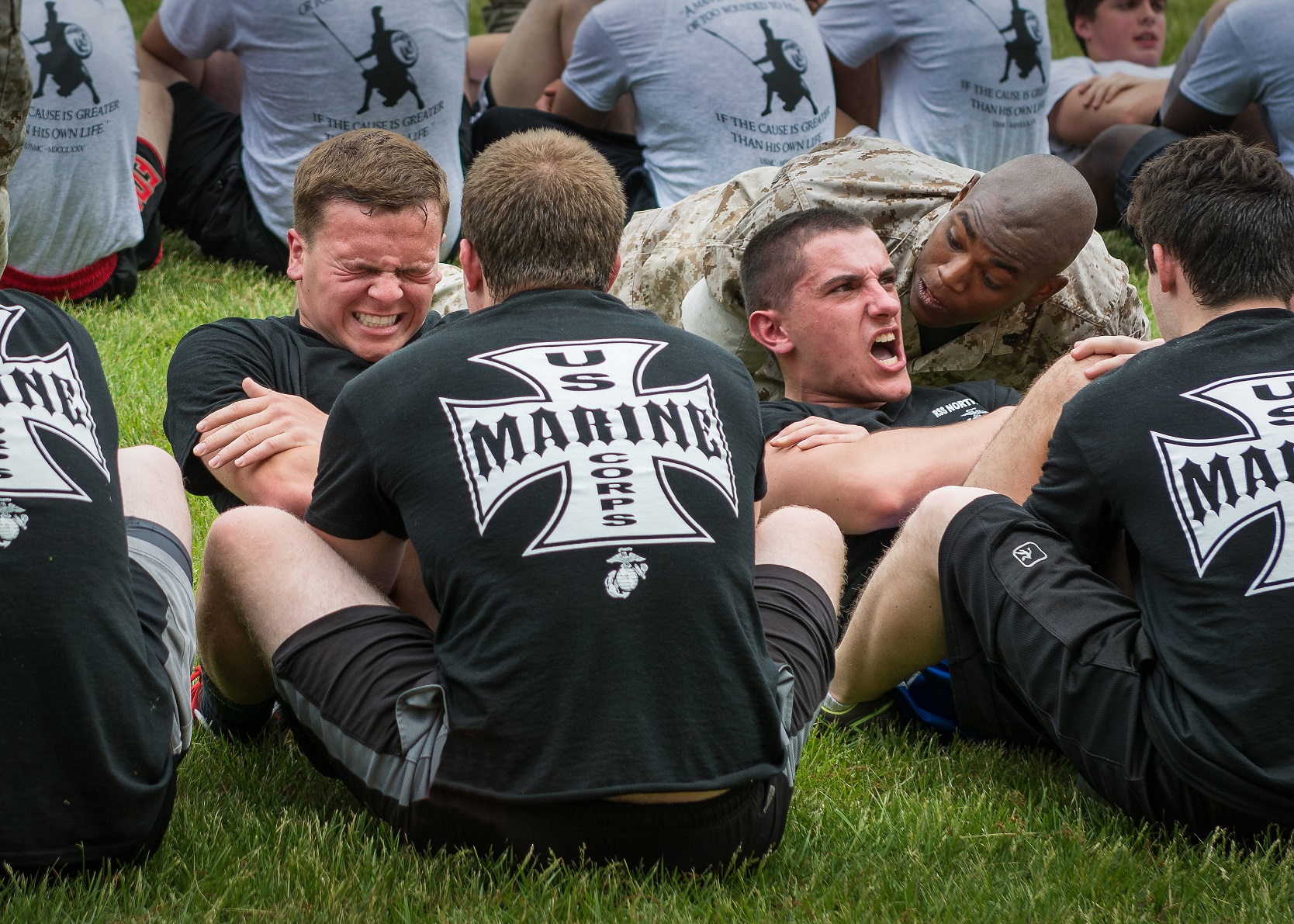 marines performing exercises in a group