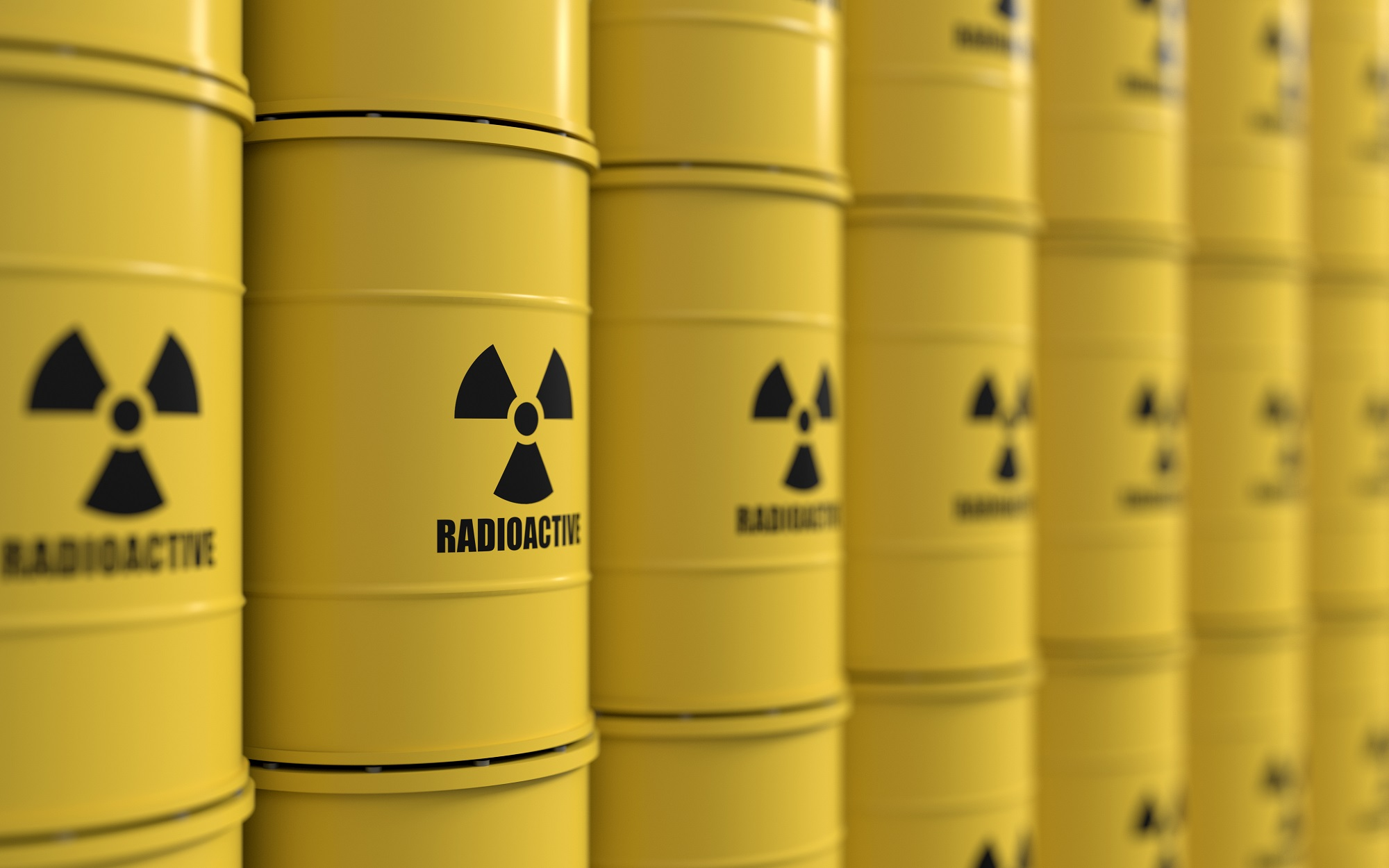 radioactive barrels stacked