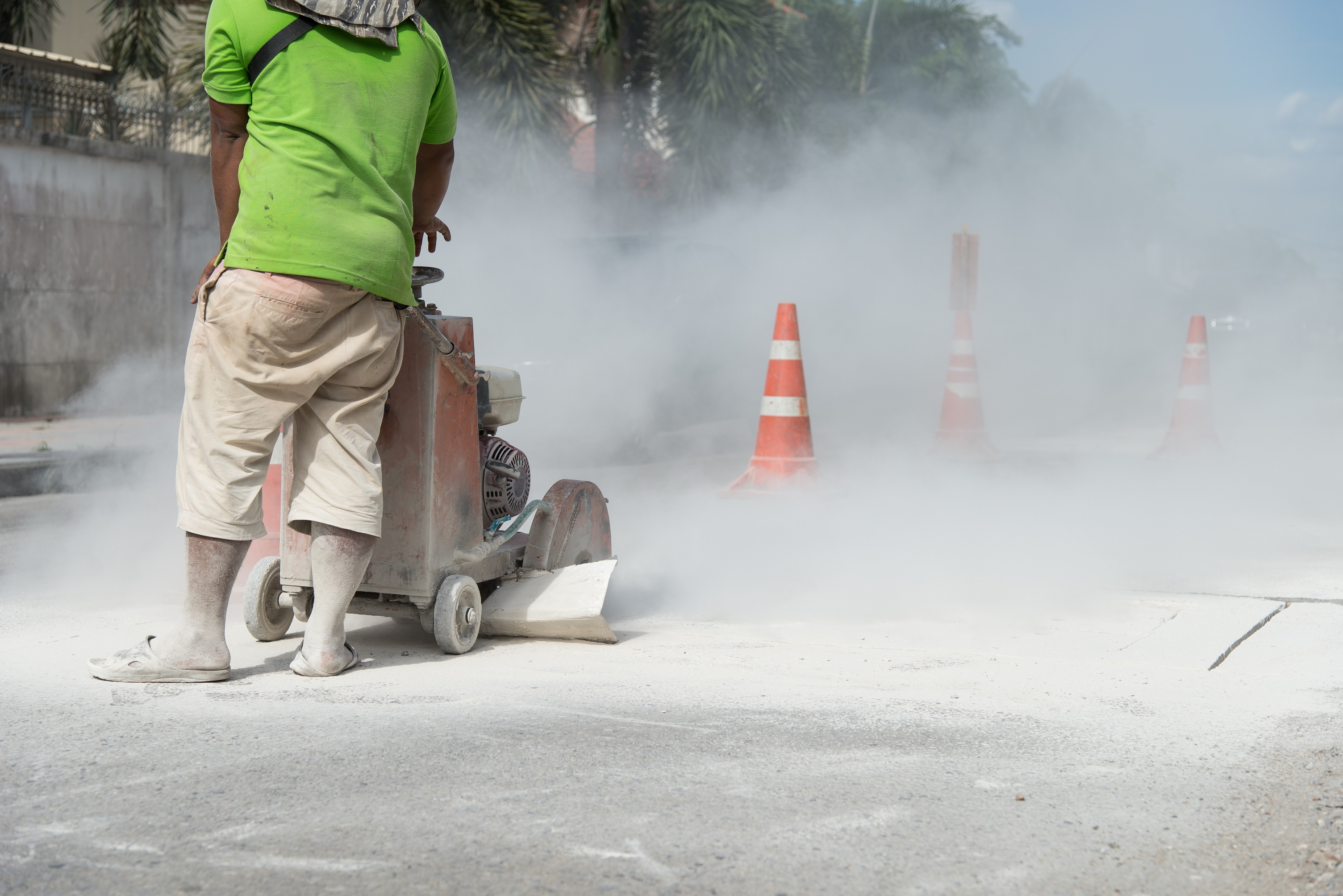 cement dust being created by a machine