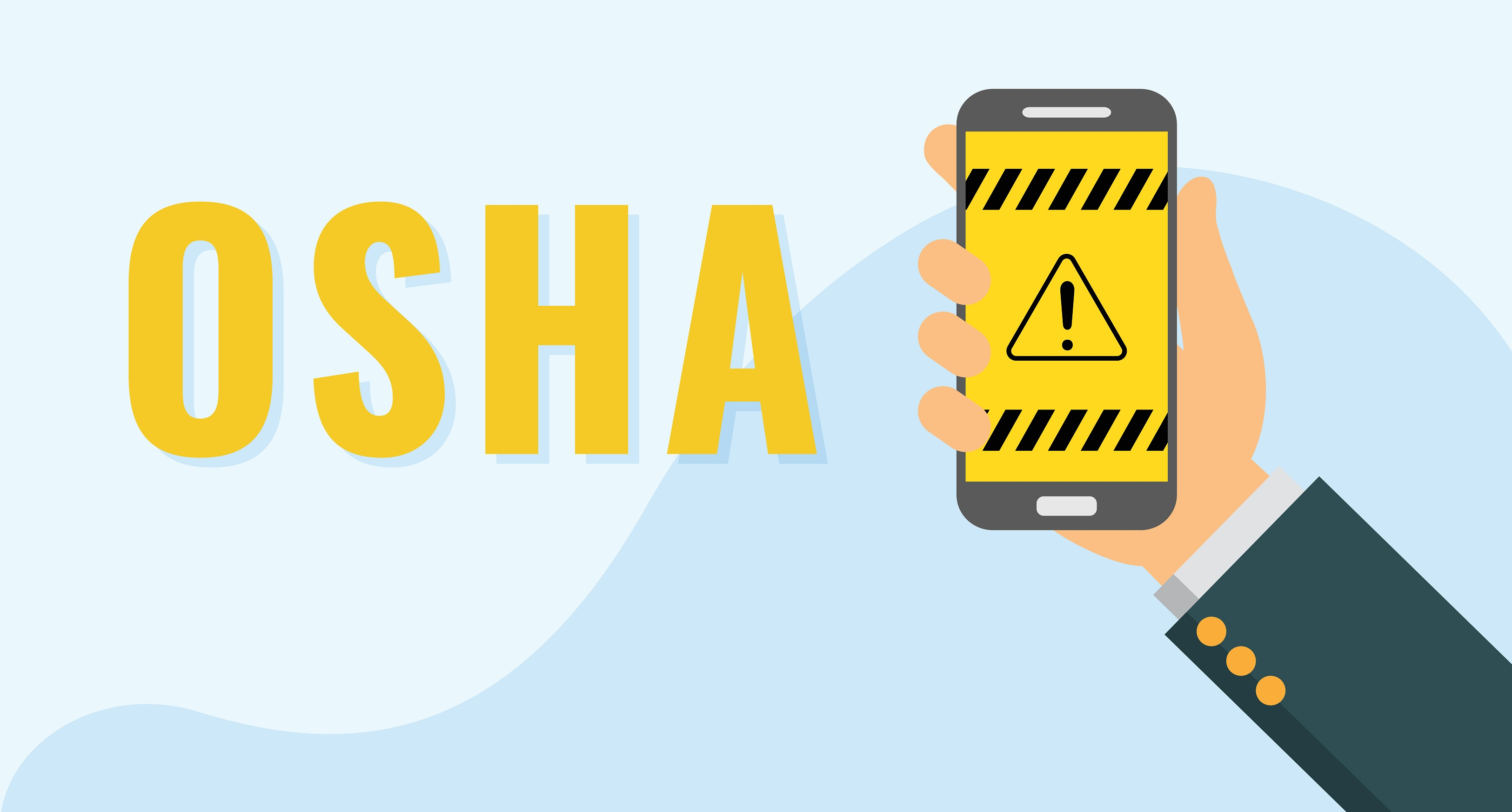 OSHA with a cartoon hand holding a phone