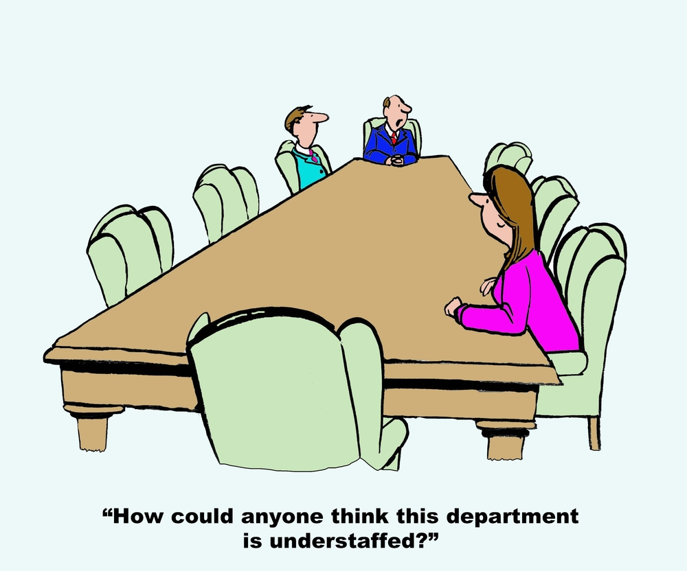 Business cartoon showing five empty seats at meeting table