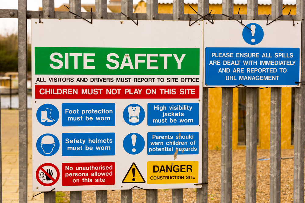 Building Site Safety Signes, fixed to railings.