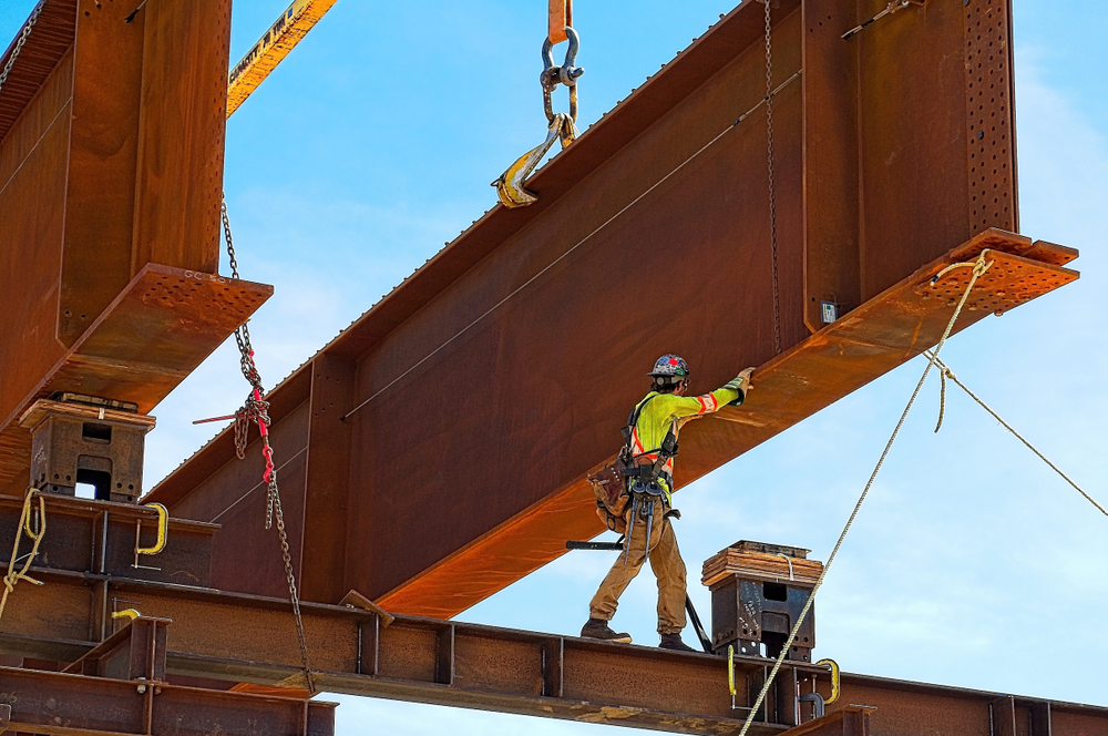 Steel girder and two meter web installed on a bridge abutment