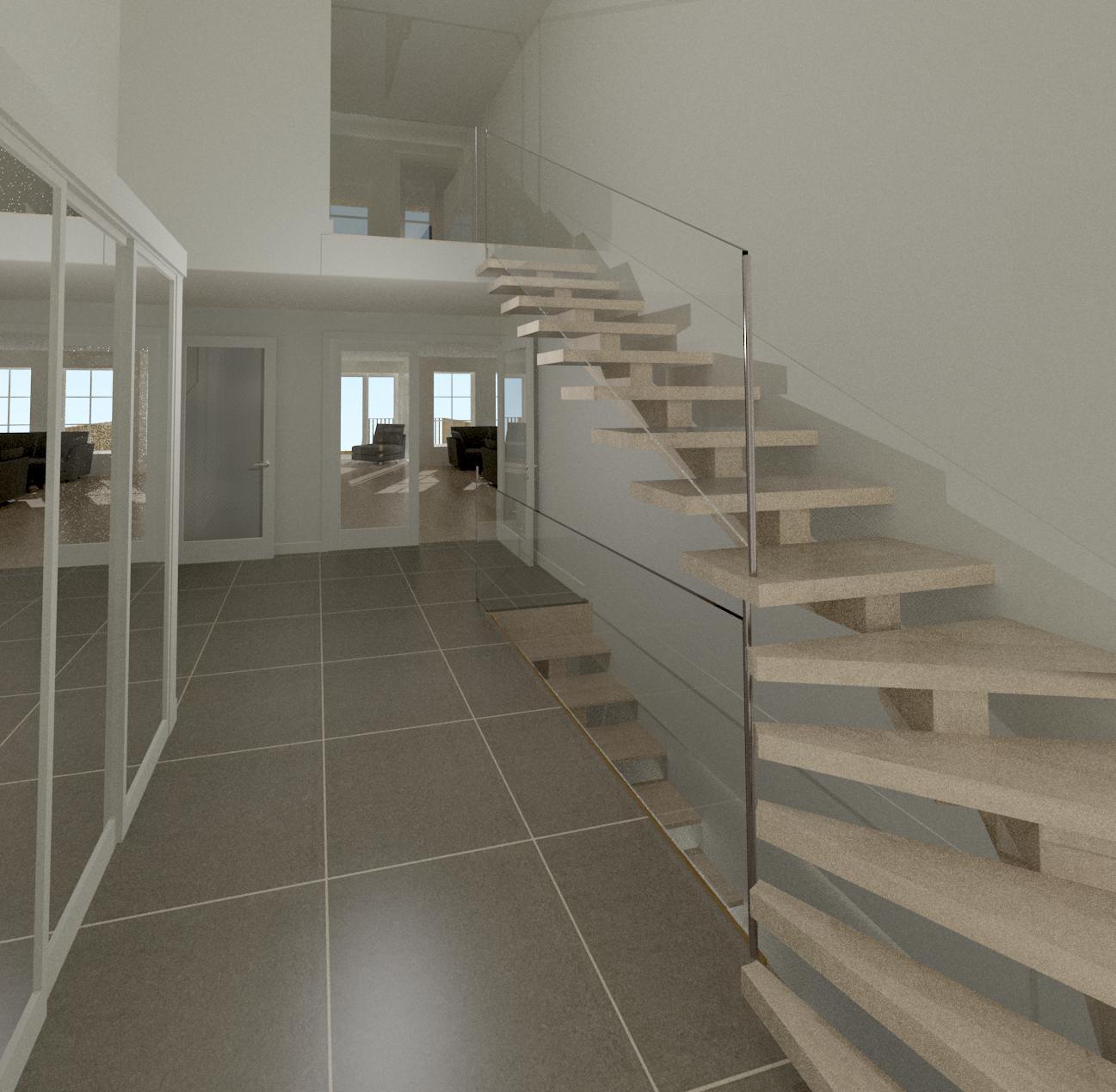 visualisering av hall med ny trapp