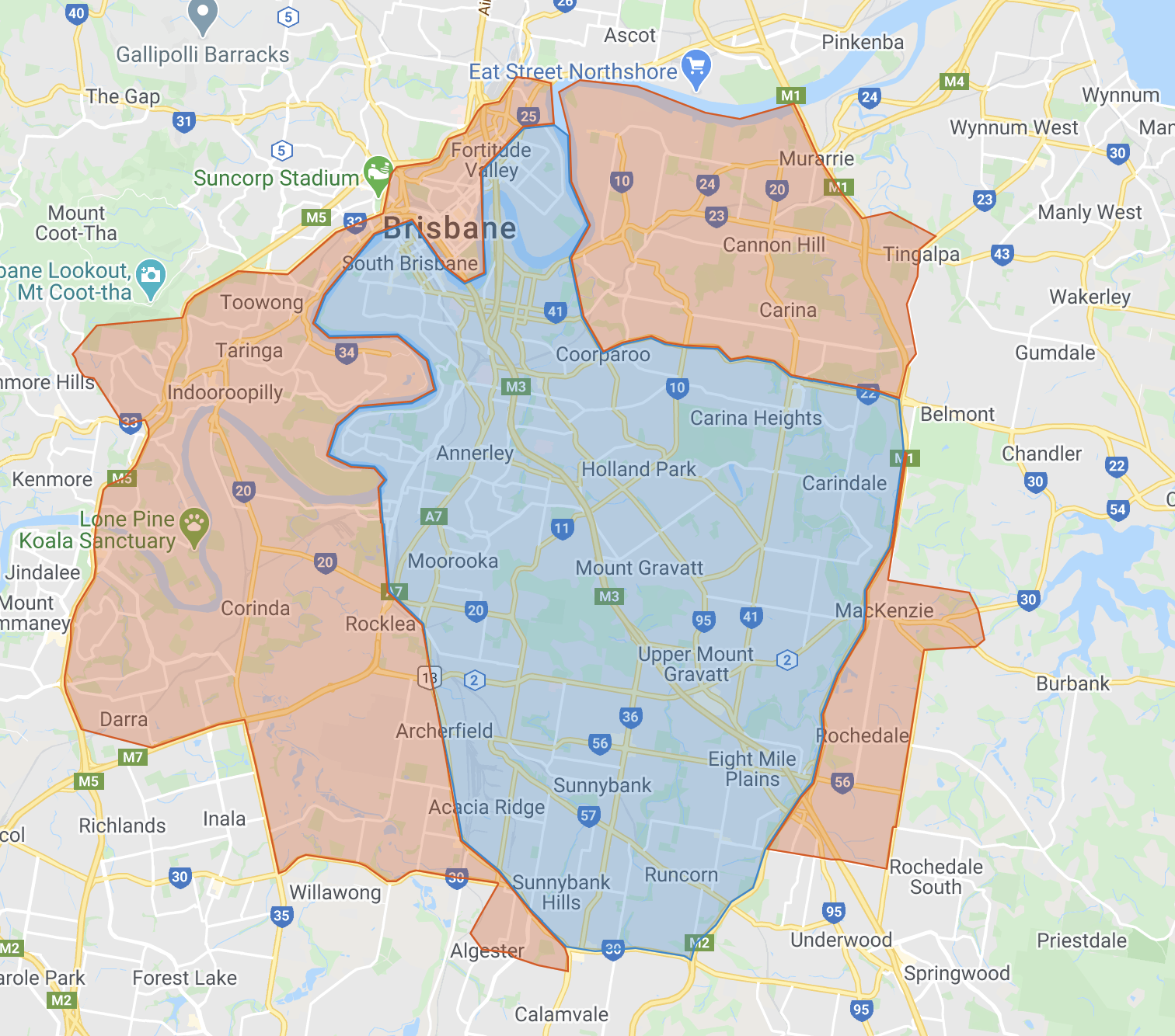 Map with blue highlighted area for regular service area (suburbs listed below)