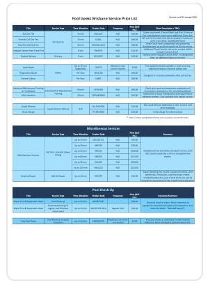 PDF copy of Service Price List