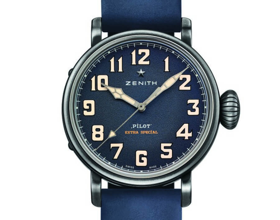 zenith pilot blue dial 40 mm