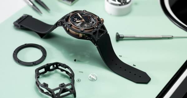 The Hublot Techframe Ferrari 70 Years Tourbillon Chronograph in PEEK Carbon & King Gold