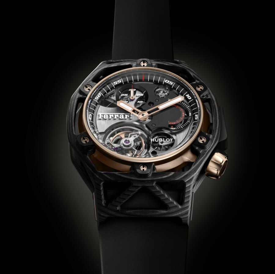 Hublot Techframe Ferrari 70 Years Tourbillon Chronograph in PEEK Carbon & King Gold