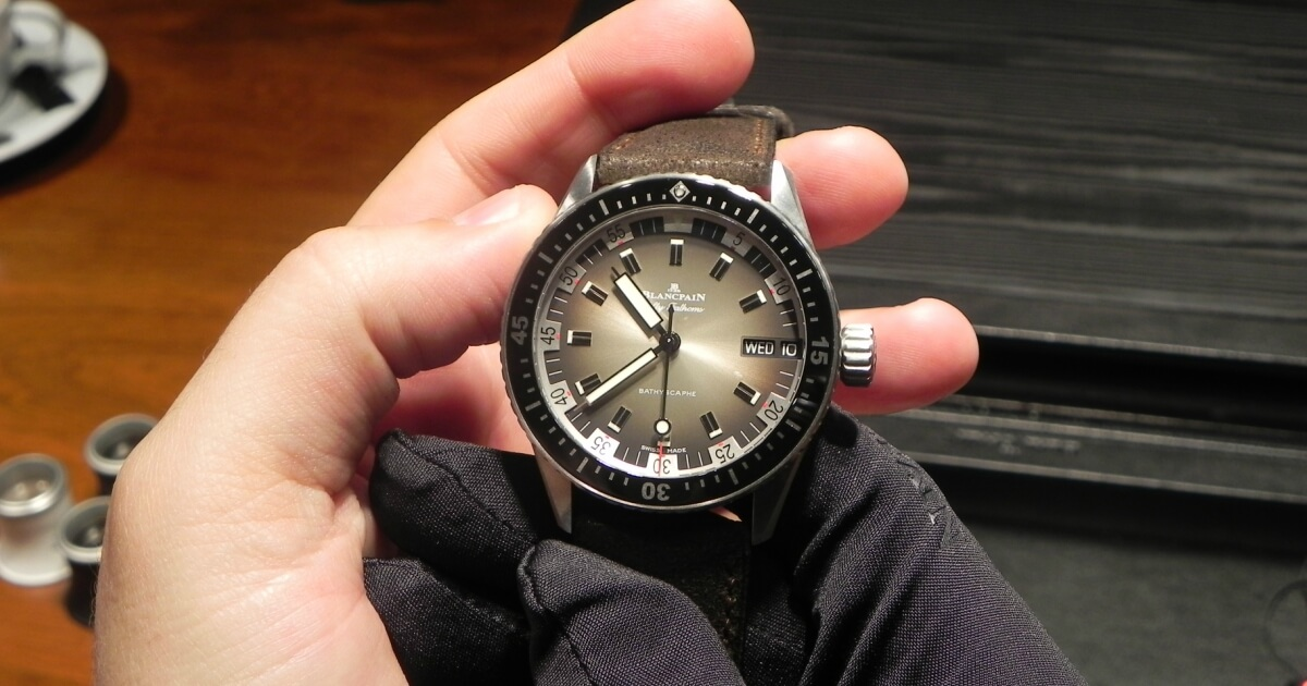 Hands On: Blancpain Fifty Fathoms Bathyscaphe Day Date 70s