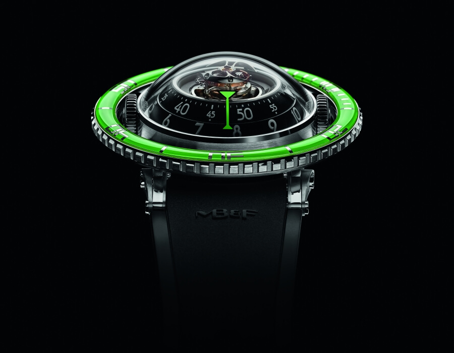 The New  MB&F Horological Machine No.7 Aquapod Titanium Green