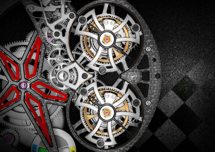 Roger Dubuis Excalibur Spider Pirelli Flying Double Tourbillon Movement