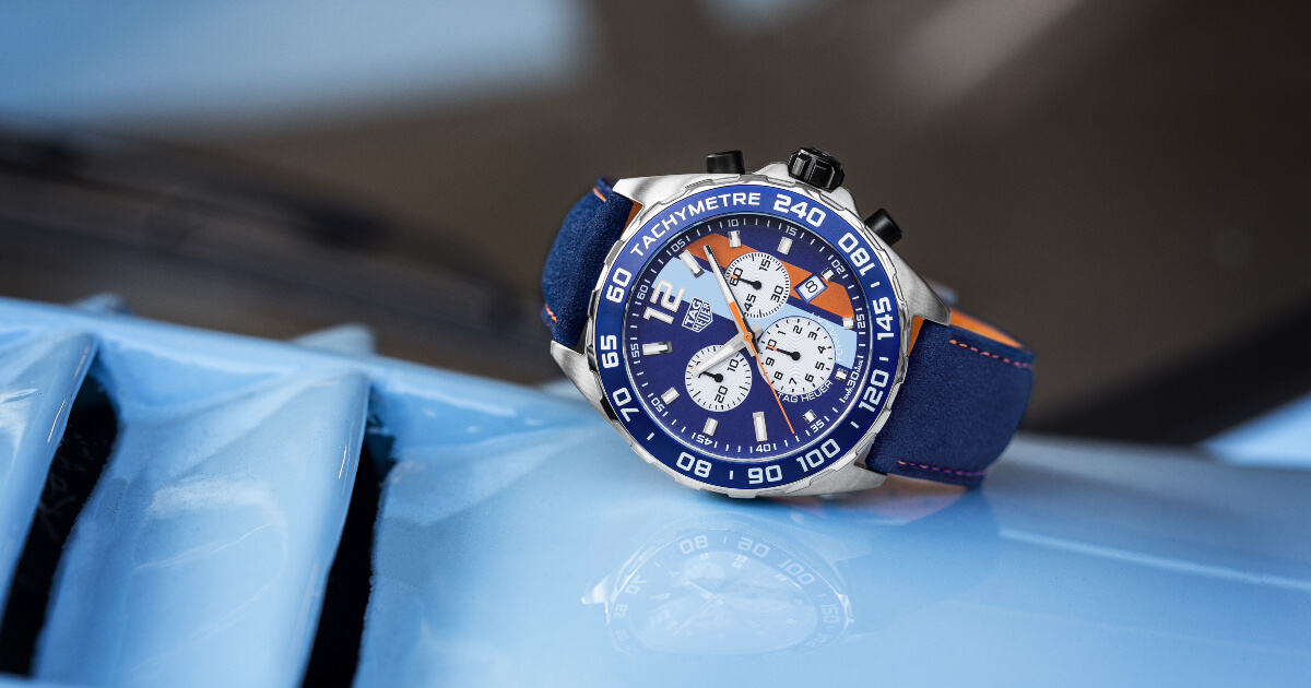 The New TAG Heuer Formula 1 Gulf Special Edition plus a 50-piece limited edition of the Monaco Gulf