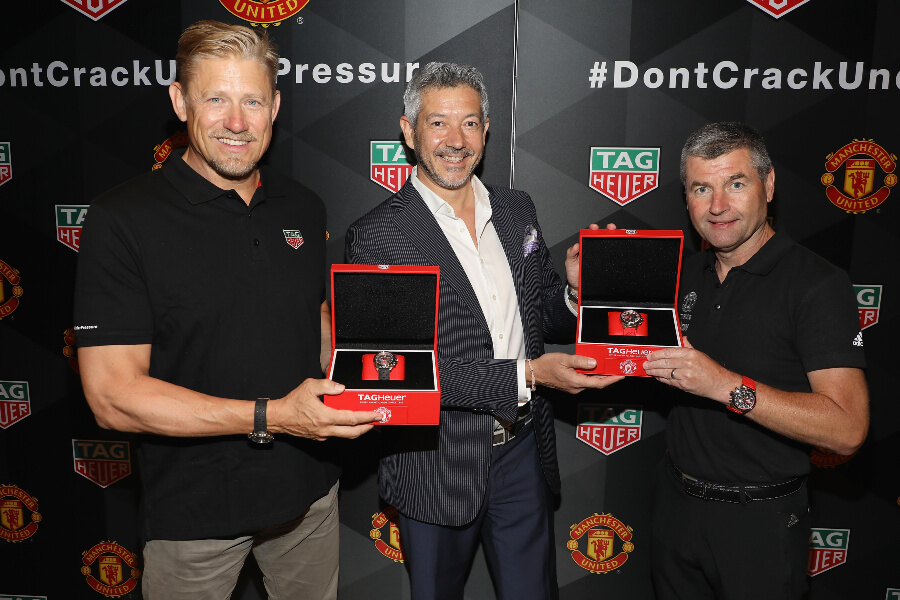 Peter Schmeichel and Denis Irwin