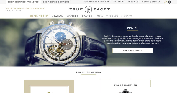 TrueFacet Launches First-Ever Online Brand-Certified Pre-Owned Watch and Jewelry Category
