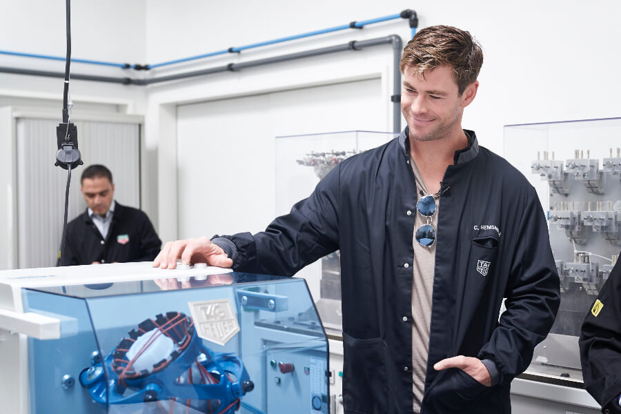 Chris Hemsworth visit Tag Heuer Factory