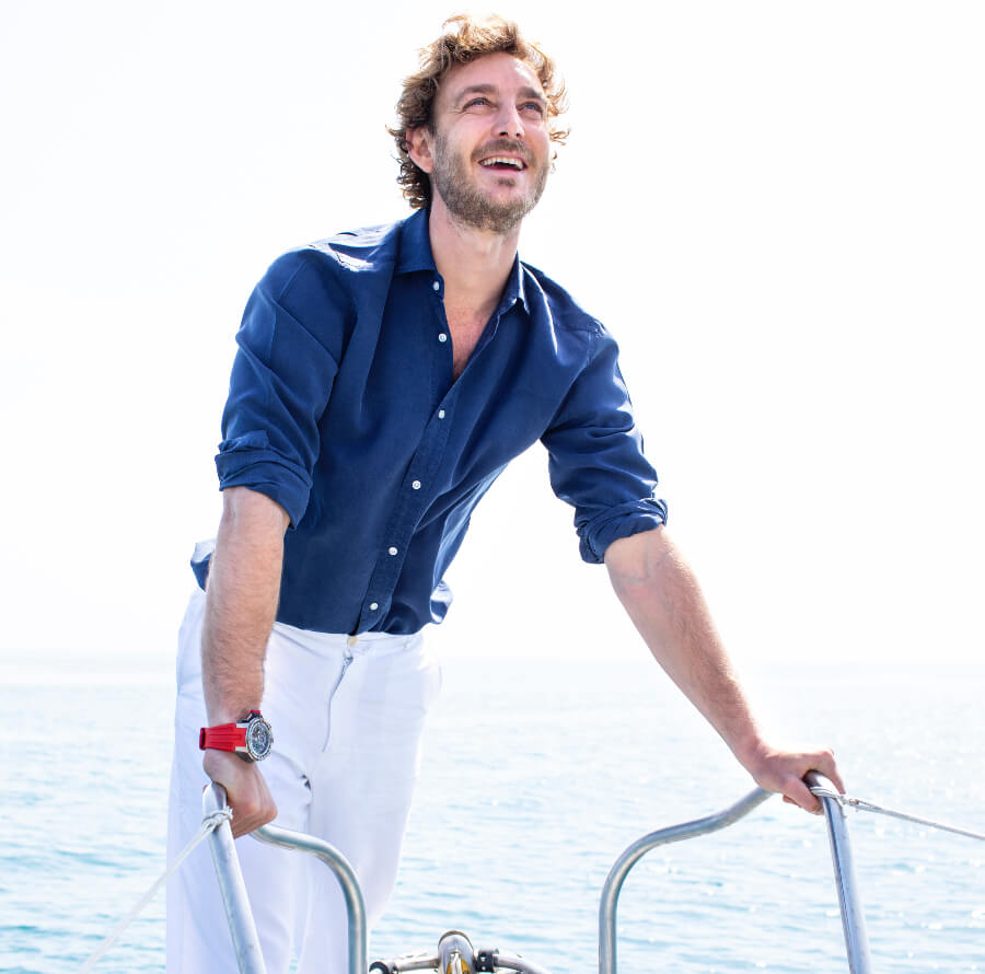 Pierre Casiraghi wearing the RM 60-01 Regatta Flyback Chronograph