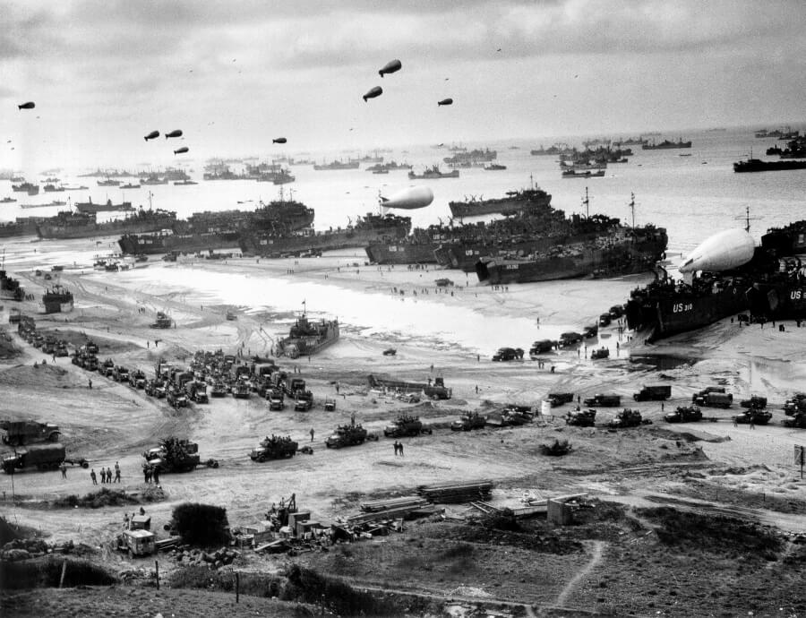 Panoramic photograph of the D-day landing in Normandy June 1944