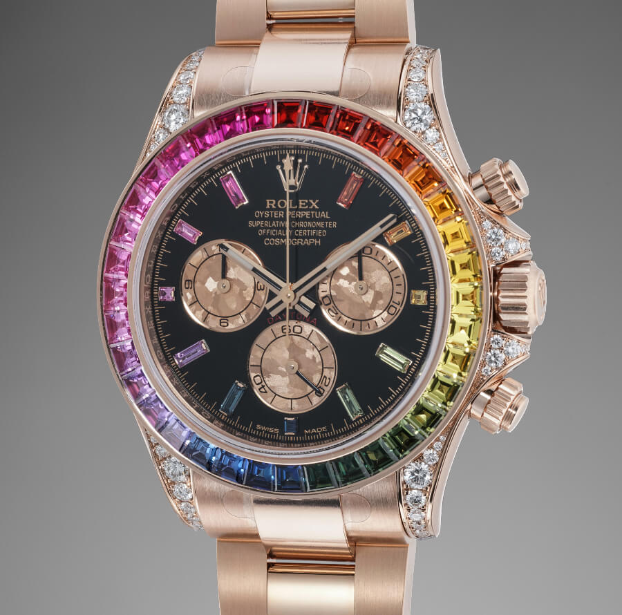 "Rolex ""Rainbow"" Daytona reference 116595 RBOW in pink gold"