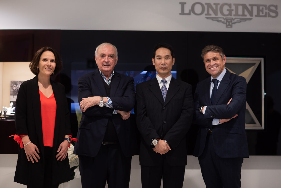 Stéphanie Lachat, International PR, Heritage and Digital Manager, Walter von Känel, President of Longines, Seiji K., Longines watch collector and owner of the watch number 183, and Juan-Carlos Capelli, Vice President of Longines and Head of International Marketing